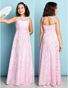 Floor-length Lace Junior Bridesmaid Dress - Blushing Pink Sheath/Column Jewel 2016 - $71.99