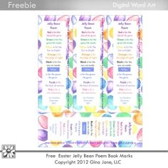 Free Printables, Free Jelly Bean Prayer, Jelly Bean Poem Download,  Easter Jelly Bean Prayer Printables - Free Bookmarks, Easter printables for Kids, Kids Easter Crafts, Sunday School, Primary Kids, Easter Jelly Bean Poem by Charlene Dickensen - Bookmarks by Gina Jane Designs - DAISIE Company