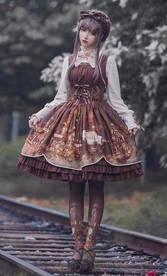 Steampunk Lolita Dress! Clockwork gears and castle print! 100% FREE Shipping Worldwide! Tons more Kawaii, Lolita, Harajuku, Fairy-Kei, Larme, Pastel-Goth, Cosplay, Magical Girl, and Japan Fashion Goodies at www.KawaiiBabe.com