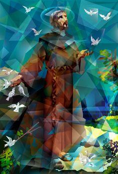 São Francisco de Assis Catholic Art, Catholic Saints, Religious Art, St Francisco, Clare Of Assisi, Patron Saint Of Animals, Biblical Art, Francis Of Assisi, Jesus Art