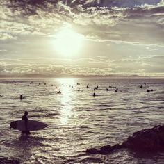 Surf sunset at Snapper Rocks