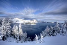 Winter at Crater Lake means snowshoeing, skiing, and snowmobiling (accessed outside the park parameters). Aside from winter recreation, it also means beautiful winter scenery that would make the perfect holiday greeting card.