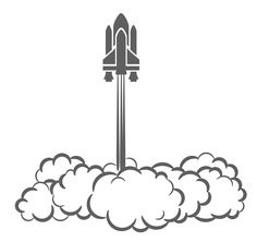 a nice simple image of a launching space shuttle. This would work well if used along side a simply typographic.