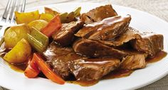 Slow Cookers Savory Pot Roast - Everyday Cooking - McCormick.com - <strong>Under $2.50 per serving.</strong>  Savory aromas entice you as this easy meal-in-one gently simmers in the slow cooker. Choose a boneless chuck roast for the richest taste or a rump roast if you prefer lower fat.