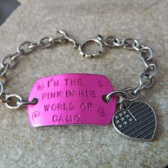 I'm the Pink in his World of Camo Bracelet with by WireNWhimsy, $28.00