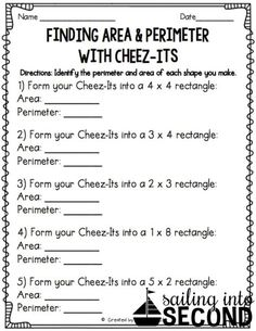 Last month, we had been working on identifying area and perimeter in math. So, I thought a fun activity to wrap up our unit could be this Cheez-It activity I saw on Pinterest. I modified it a tiny bit for my kids but they definitely enjoyed it nonetheless. I mean, workbook activity vs. Cheez-Its?! My activity was [...]