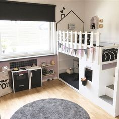 """When the girls play outside, I adjust a little. """"Tiled"""" kitchen and… - baby room ideas - Kids Playroom"""
