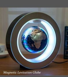 Genmine Magnetic Levitating Globe, Magnetic Floating Globe with Led Lights  High Rotation LED Light Anti Gravity Globe Round Shape Decoration for Home  (US ... 4ecff2476d71