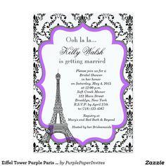 Eiffel Tower Purple Paris Bridal Shower Invitation