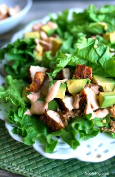 Southwest Chicken Avocado and Quinoa Lettuce Wraps what a meal
