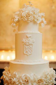 My dream wedding cake, literally! My Mom made the sugar flowers & crest - seriously amazing! Mod Wedding, Elegant Wedding, Perfect Wedding, Dream Wedding, Wedding Hair, Wedding Gowns, Lace Wedding, Amazing Wedding Cakes, White Wedding Cakes