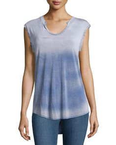 Split+Scoop-Neck+Tie-Dye+Tee,+Blue+Ombre+by+Cirana+at+Neiman+Marcus+Last+Call.