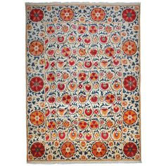 Darya Rugs Suzani Hand-Knotted Oriental Rug   From a unique collection of antique and modern caucasian rugs at https://www.1stdibs.com/furniture/rugs-carpets/caucasian-rugs/