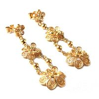 Gold vermeil dangle earrings, 'Garlands' - Floral 21K Gold Vermeil Filigree Dangle Earrings