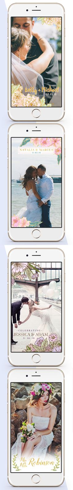 Custom Snapchat Geofilter Personalized Wedding Geo Filter with Customized Names and Date / Watercolor flower floral pastel peach gold foil