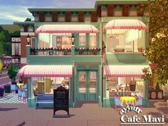 A cozy and stylish cafe waiting for your sims. Found in TSR Category 'Sims 3 Community Lots' Lotes The Sims 4, Sims 1, Sims 4 Mods, Casas The Sims 3, Muebles Sims 4 Cc, Sims 4 House Design, Sims 4 Gameplay, Sims House Plans, Free Sims