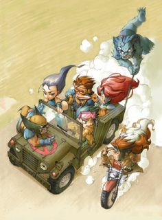 guess chibi x-men dont fly the blackbird and instead have a jeep from the show m.a.s.h?