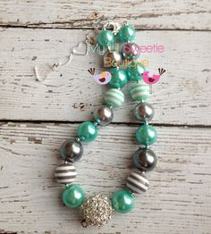 Minty silver gray chunky necklace girls by MyLilSweetieBoutique, $25.00
