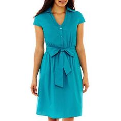 JCPenny clothings? | Short-Sleeve Shirtdress - jcpenney @Kira Adams What about this one? It ...