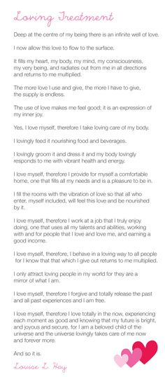Loving Treatment by Louise Hay  #yoga #affirmations #confidence