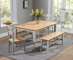 Buy the Chiltern 150cm Oak and Grey Dining Table Set with Benches and Chairs at Oak Furniture Superstore