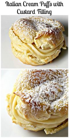 These Italian cream puffs with a rich custard filling are a classic Italian dessert. They are traditionally eaten on St. Joseph's Day, but I say indulge in them year-round! Desserts Italian Cream Puffs with Custard Filling (St. Joseph's Day Pastries) Just Desserts, Delicious Desserts, Dessert Recipes, Yummy Food, Custard Desserts, Cake Recipes, Cake Filling Recipes, Custard Filling For Cake, Raspberry Cake Filling