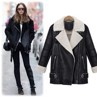 NEW Slim Long womens deerskin leather jackets Lamb fur hooded ...