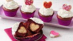 Cut into these cupcakes to reveal a surprise cookie heart!  Perfect to serve to your loved ones on Valentine's Day!