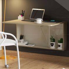 Compre Escrivaninha/Mesa Suspensa Dobrável 1 Porta Basculante 1540 100% MDP Anis - Carraro em Promoção com ✓ Até 12x ✓ Fretinho