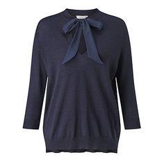 Buy Marella Badia Silk Tie Front Jumper, Navy Online at johnlewis.com