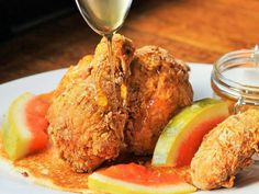 Their delicious, perfectly crispy fried chicken is drizzled with honey and served on a savory jalapeno corn cake. Philly Restaurants, Philly Food, Honey Fried Chicken, Tandoori Chicken, Jalapeno Corn, Corn Cakes, The Best, Dishes, Ethnic Recipes