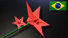 Origami: Flor Estrela - Instruções em Português PT-BR