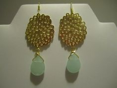 Light Mint Earrings with Gold Filigree Flower Accent