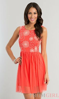 Short Sleeveless Print Dress at PromGirl.com
