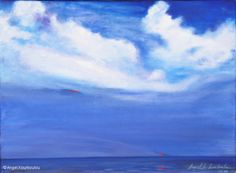 TINY RED FORM IN BLUE I, oil on canvas, 35x45cm, 2002 Oil On Canvas, Angel, Clouds, Red, Blue, Outdoor, Outdoors, Outdoor Games, The Great Outdoors