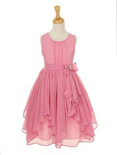 Dusty Rose Yoru Chiffon Asymmetric Ruffled Flower Girl Dress (Sizes 4-14 in 9 colors)