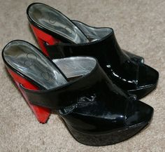 "Jessica Simpson Black & Red patent leather Grace 51/4"" heels, women's size 5.5B #JessicaSimpson #PlatformsWedges"