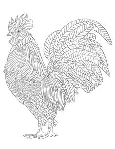 Farm Animal Coloring Page Make your world more colorful with free printable coloring pages from italks. Our free coloring pages for adults and kids. Chicken Coloring Pages, Farm Animal Coloring Pages, Cat Coloring Page, Coloring Book Pages, Coloring Sheets, Free Coloring, Rooster Art, Chicken Art, Japanese Embroidery