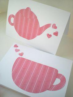 Teapot Latte Cup 2-Card Set Handmade Tea Coffee Heart Whimsical Pink Hand Cut Paper.  via Etsy.
