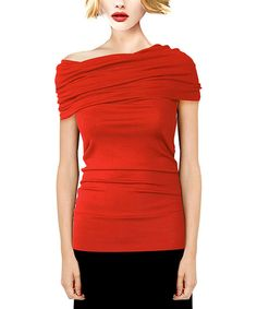 Love this Red Convertible Off-Shoulder Tunic - Women by A La Tzarina on #zulily! #zulilyfinds