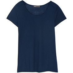 Vince Jersey T-shirt ($57) ❤ liked on Polyvore featuring tops, t-shirts, storm blue, blue top, loose tee, lightweight t shirts, loose fit tops and loose t shirt