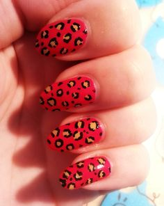 """Leopard nail art  ((kinda likin the new """"pointy nail"""" style... lol... Not really sure what it's ACTUALLY called?!))"""