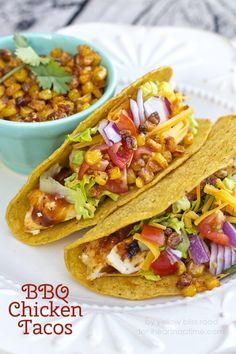 BBQ Chicken Tacos with Barbecue Seasoned Oven Roasted Corn