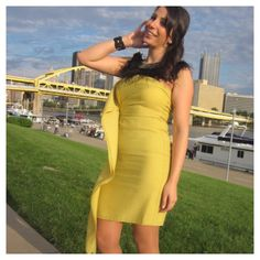 Stunning BCBG Yellow Dress I wore this only once to a wedding. This dress has been worn by many celebrities. It's in brand new condition. Love it. Got tons of compliments on it. While it says size 8 on the tag, I would say this is a size 6 since BCBG runs small on some dresses. BCBGMaxAzria Dresses