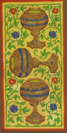 Golden Tarot / Visconti-Sforza deck / 3 of cups