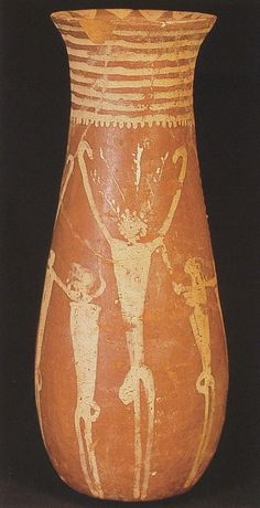 "Naqada I Pot with Human Figures [Nut suporting the heavens/Firmament withe ""branches"" coming from her head]"