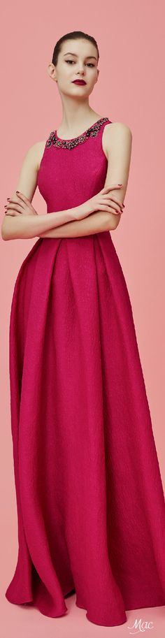 Pre-Fall 2016 Marchesa Notte awesome color. easily add cap sleeves.