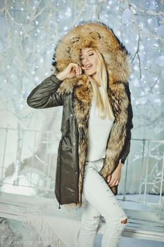 b550d96f This listing if for the great new Real raccoon fur parka jacket for women.  The