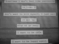 Killing yourself won't rid the pain, it gives it to someone else. Suicide eliminates the chances of anything ever getting better. You CAN be happy again, you WILL be happy again. We'll make it through. If you need to talk, talk to me I'm here ~aquatigres