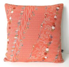 Autumnal Double Sided Floral Stripe Cushion from Vintage Japanese Kimono Silk £33.00